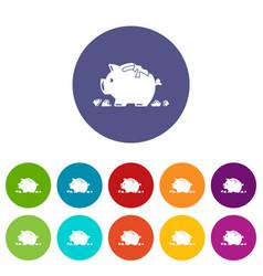 Broken piggy bank icons set color vector