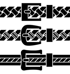 buckle braided belt black symbols vector image