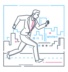 businessman running - line design style vector image