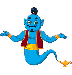 Cartoon genie appear from magic lamp vector