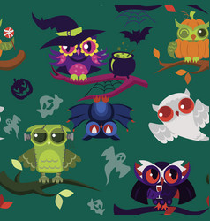 cartoon halloween owls endless texture vector image