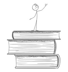 Cartoon man standing on pile big books and vector
