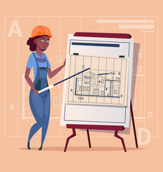 Cartoon woman builder explain plan of building vector