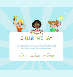 children day banner flyer or invitation card vector image