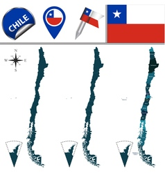 Chile map with named divisions vector image