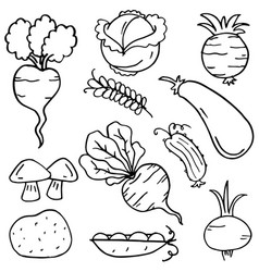 Collection of vegetable object doodles vector