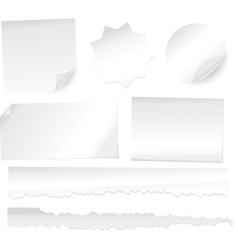 Collection various white note papers on white b vector