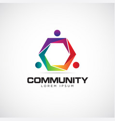 colorful join community logo symbol icon vector image