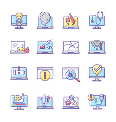 Computer problems rgb color icons set vector