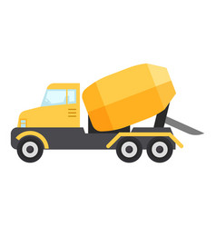 concrete mixer truck icon flat style vector image