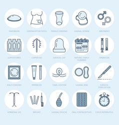 contraceptive methods line icons birth control vector image