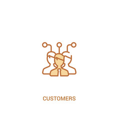 Customers concept 2 colored icon simple line vector