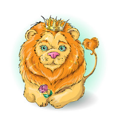 cute cartoon lion king with a rose vector image