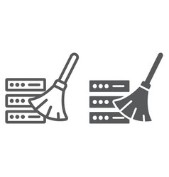 database cleaning line and glyph icon vector image