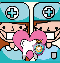 dentist boy and girl tooth prevention vector image