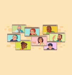 diverse people virtual online video conference vector image
