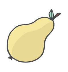 doodle style pear hand drawn color vector image
