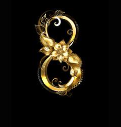 Eight of golden flowers vector