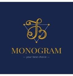 Elegant hand lettered B letter monogram vector