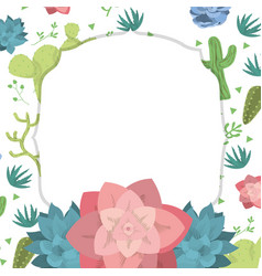 Emblem frame with desert plants vector