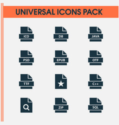 File icons set with psd zip doc and other vector