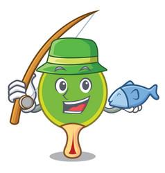 Fishing ping pong racket mascot cartoon vector