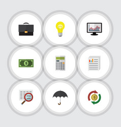 Flat icon gain set of calculate scan document vector
