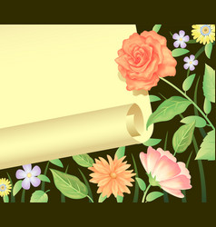 flora frame decoration on black background vector image