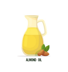 Fresh almond oil glass bottle with seeds vector