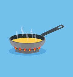 Frying pan with butter on fire cooking food vector