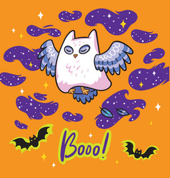 funny print with owl the ghost for halloween vector image