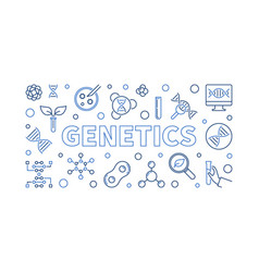 Genetics outline horizontal or vector