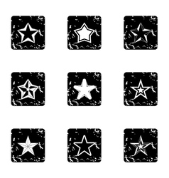 Geometric figure star icons set grunge style vector