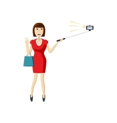 Girl in red dress making selfie with a stick icon vector image