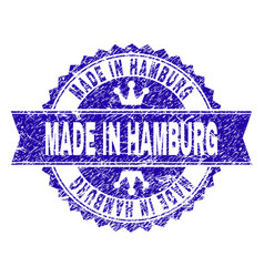 Grunge textured made in hamburg stamp seal with vector