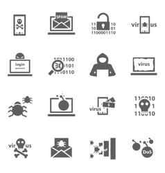 Hacker attack icons vector image