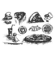 Hand drawn sketch of pizza on vector