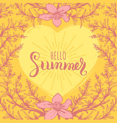 Hand lettering inspirational poster hello summer vector