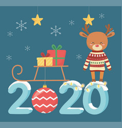 happy new year 2020 celebration cute deer with vector image