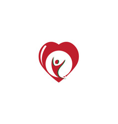 healthy person open hands inside a heart for logo vector image