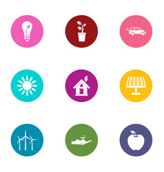Heat energy icons set flat style vector