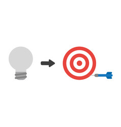 Icon concept of grey light bulb with bulls eye vector