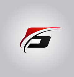 Initial s letter logo with swoosh colored red vector