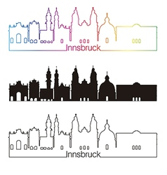 Innsbruck skyline linear style with rainbow vector image