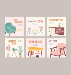 interior decor sale web banner templates set home vector image