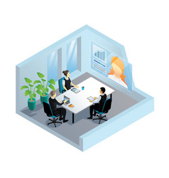 isometric video conference in office vector image