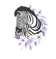 logo with the head of a zebra flat zebra portrait vector image