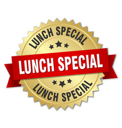 lunch special round isolated gold badge vector image