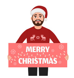 man holds a poster with the words merry christmas vector image
