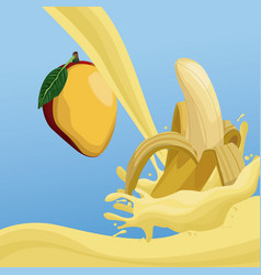mango and banana fruit splash on blue background vector image